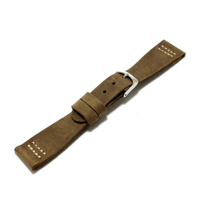 45a8f3b96ad8b Sahara vintage genuine leather watch strap 20 mm olive brown color   One  layer of leather, contrast stitching, ss buckle, curved design