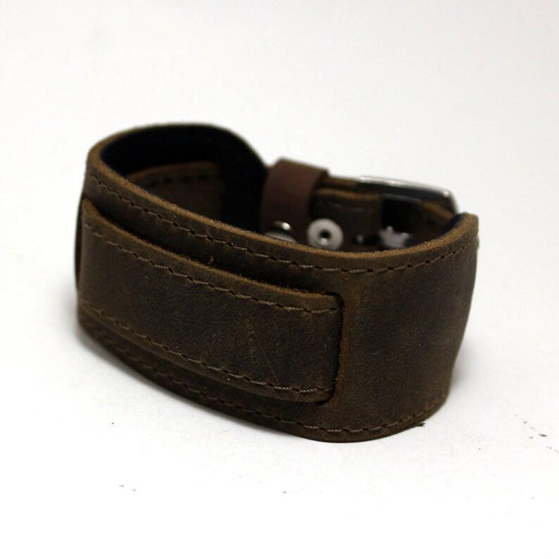 b2bc144c506ac Genuine leather aviator style bund watch strap 18 mm chocolate brown /  khaki color   Nato type installing