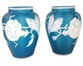 Antique Prussian Blue Two Layer Cameo Glass Vase Set Morning Glory 1800s Victorian Stourbridge Art Glass Thomas Webb Stevens Williams