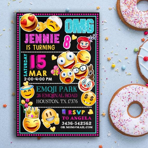 Emoji Zaproszenie Emoji Urodziny Zaproszenie Emotikony Etsy
