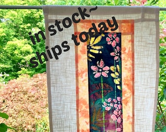 Linen Cafe Curtain ~ Floral Window Treatment ~ Pojagi Patchwork