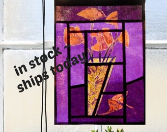 Floral Tapestry ~ Stained Glass Curtain with Cubist Flowers ~ Pure Linen Cafe Curtain ~ Korean Fabric Art