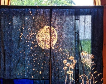 Moon Tapestry ~ Stained Glass Curtain Set ~ Shibori  Door Curtain