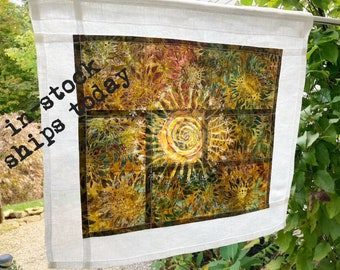 Sun Tapestry ~ Linen Cafe Curtain ~ Art Deco Window Treatment ~ Pojagi~ Doorway Curtain