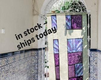 Hand Tie Dyed Room Divider  ~ Sheer Linen Panels ~ Doorway Curtain ~ Korean Fabric Art~ Doorway Curtain