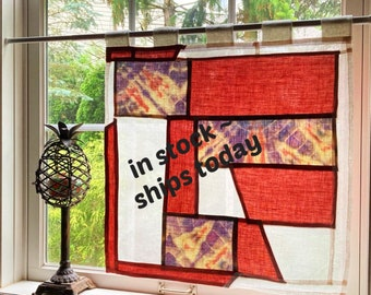 Pure Linen Cafe Curtain ~ Hand Tie Dyed Window Panel ~ Pojagi Window Treatment