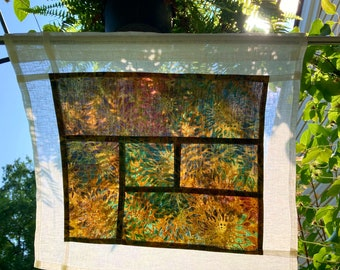 Floral Tapestry ~ Linen Cafe Curtain ~ Art Deco Window Treatment ~ Pojagi Window Treatment
