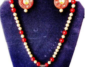 Filigree Necklace| Red and Gold Necklace| Pearl Necklace Polymer Clay Set