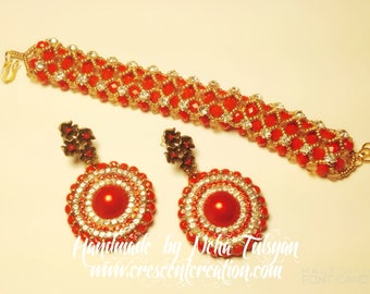 Bridesmaid Gift | Anniversary Gifts | Gifts for her | Red & Gold Earrings with Matching Swarovski Beaded Bracelet