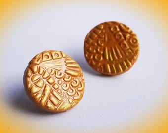 Textured Polymer Clay Stud 0.5 inches | Gold Pattern Studs| Bridesmaid Gift | Anniversary Gifts | Gifts for her |