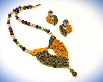 Peacock Necklace| Polymer Clay Necklace Set| Boho Jewelry Set| Polymer Clay Earrings| Gifts for Her| Beaded Necklace