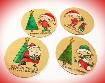 Wood Coasters, Set of 4, Christmas Coaster Set, Home Decor, Beverage Coasters, Wooden Coasters, Farmhouse Coasters, Rustic Accents, Handmade