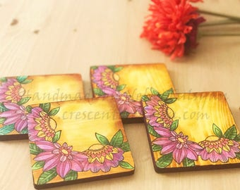 Wood Coasters, Set of 4, Floral Coaster Set, Home Decor, Beverage Coasters, Wooden Coasters, Farmhouse Coasters, Rustic Accents, Handmade