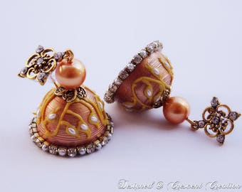 Gifts for her | Bridemaids Gifts | Paper Jhumkas | Paper Dangle Earrings with Pearls