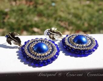 Dangle Earrings, Blue Vintage Earrings, Gift for Her, Bridemaid Jewelry, Antique Leaf Stud Earrinsg, Dark Blue Pearl Dangler Earrings