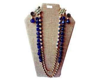 Traditional Kundan Necklace set| Semi Precious beads Jewelry Set | Anniversary Gifts | Gifts for her | Blue and Gold Long necklace Set
