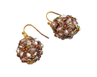 Beaded Swarovski Crystal Earrings| Jewelry Gift | Anniversary Gifts | Gifts for her | Copper round earrings