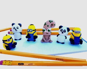 Animal Pencil Toppers, Gifts for Kids, Kids Party Favors, Eraser Caps, Pencil Partners, Polymer Clay Pencil Toppers, Clay Miniatures