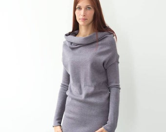 07438a5c7e5 Pink gray hoodie dress with long sleeves