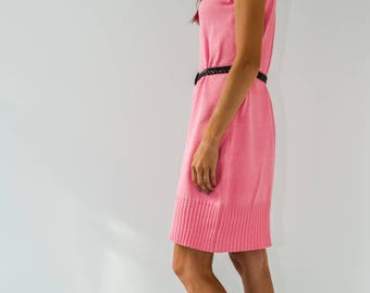 567ddefb32 Knitted linen dress with a high neck hinged