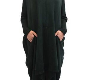 Dark Green Turtle Neck Oversized Sweater Dress, Long Neck Sweater, Warm Casual Knitted Dress, Women Turtle Neck Sweater with Long Sleeves
