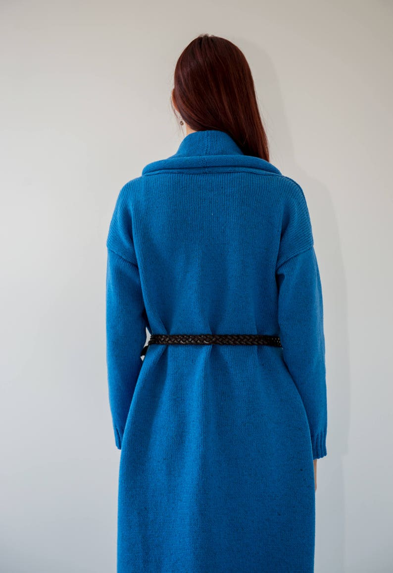 Extra warm knitted blue cardigan Loose fit long sweater for modern women made in Europe