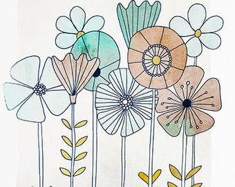 Graphic flower illustration / print 21 X 29, 7 / Emilie Raguin