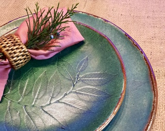 """A set of ceramic plates 8 """"and 11"""". 2 handmade turquoise plates for breakfast, lunch, dinner with leaf decor Kitchen offering organic dishes"""