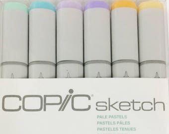 COPIC Sketch Marker Set, Pack of 6 PALE PASTELS sketch markers, Dual-tipped, refillable,alcohol ink markers, Made in japan