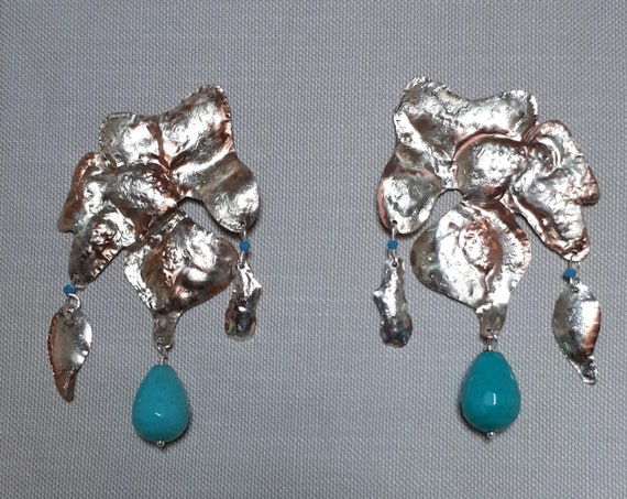 "Large pendant earrings ""Flora"""