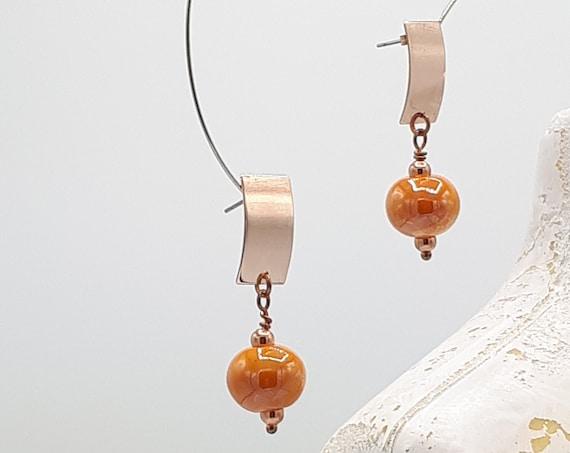 LeBoncine orange ceramic rose gold pendant earrings