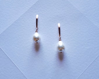 Dangling earrings with mother of pearl drop