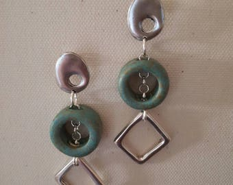 Hanging earrings with matte ceramic