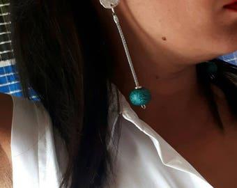 Long pendant earrings with ceramics