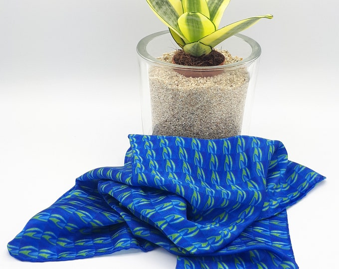 Featured listing image: Precious scarf/ bandana in pure silk hand-sewn pattern blue and green pattern