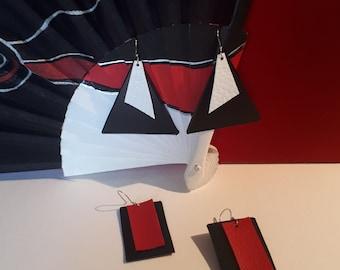 Geometric maxi pendant earrings in eco-leather