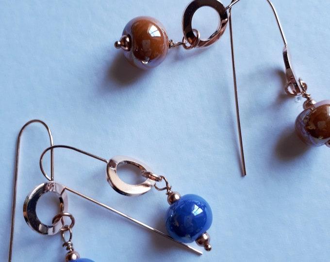 Hanging earrings with Greek ceramic pearls