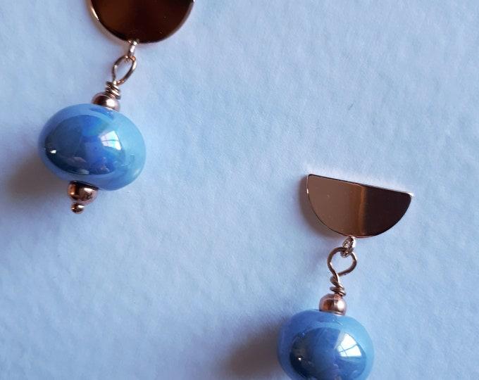 LeBoncine Greek ceramic pearl pendant earrings