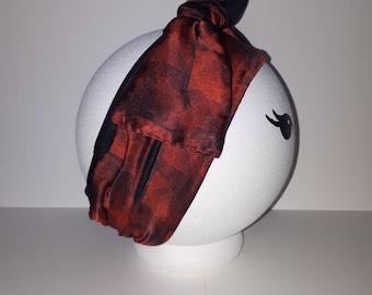 "Sheer silk-lined hairband or headband ""Art in print"""