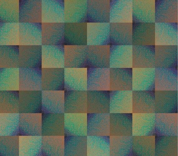 "Pure silk scarf ""Art in print"" pattern green pattern"