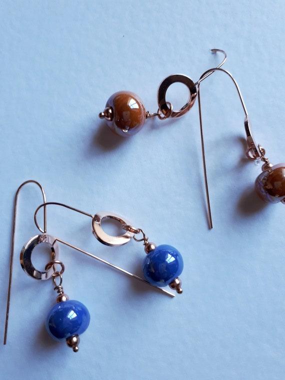 Pendant earrings with Greek ceramic pearls