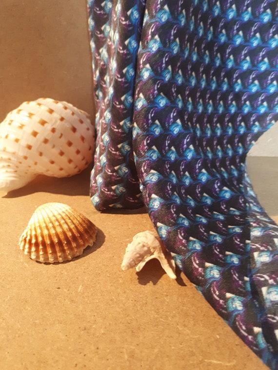"""Bandana in pure silk """"Art in print"""" pattern pattern woman blue veil"""