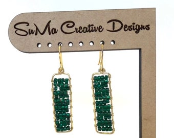 Green Glass Beads and Gold Tone Wire Earrings