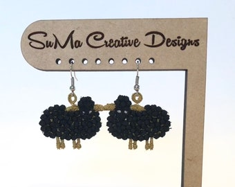 Embroidered Black Sheep of the Family Earrings