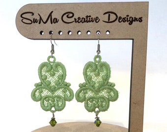 Spring Green Embroidered Earrings