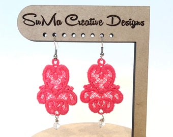 Coral Lace Embroidered Earrings