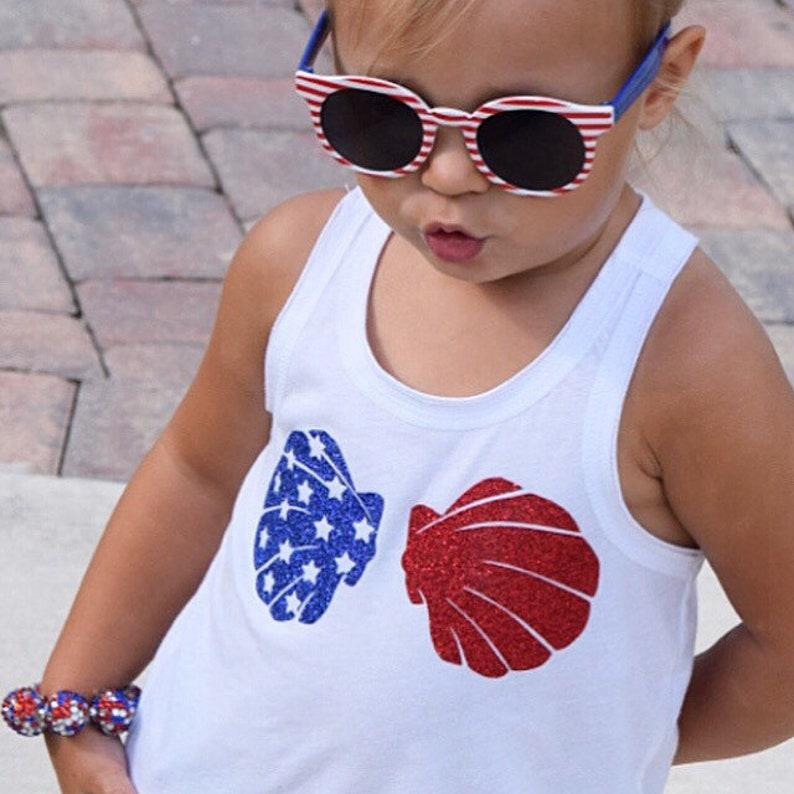 American Flag Applique 4th of July Patriotic Shirt Shell Bra Vinyl Heat Transfer Diy USA MERMAID SEASHELL  Iron On July Fourth Tank