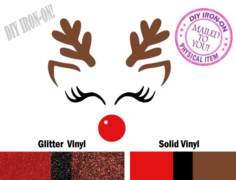 Diy REINDEER FACE Christmas Iron On Vinyl Applique Decal image 0