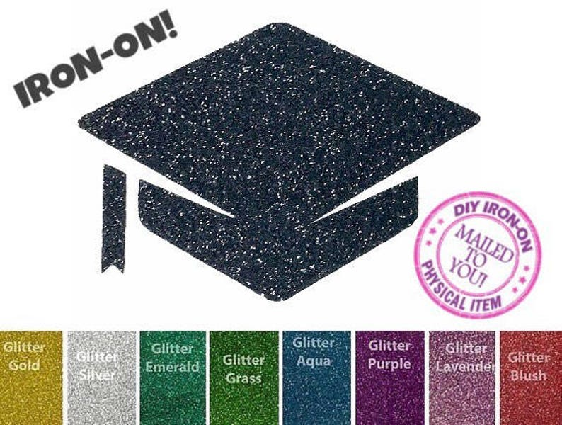 Diy graduation cap iron on applique graduate heat transfer etsy