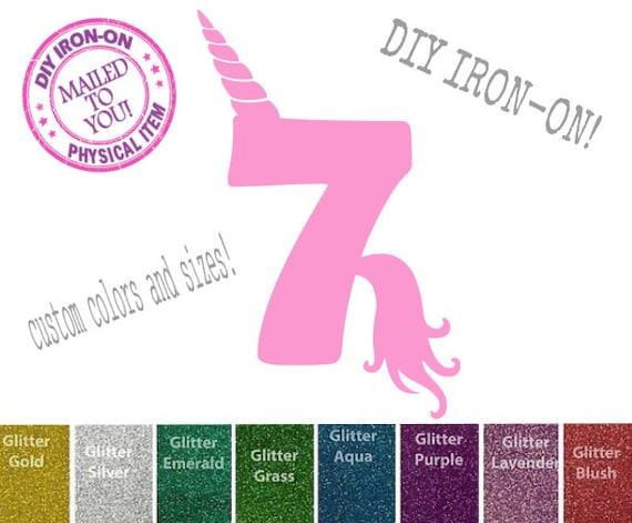 Diy UNICORN SEVEN BIRTHDAY Iron-On Vinyl Applique Decal, 7th, Shirt,  Unicorn Horn, Tail, Girl, Child, Patch, Transfer, Number 7, Seventh